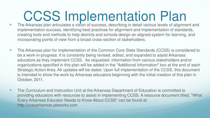 Ccss implementation plan