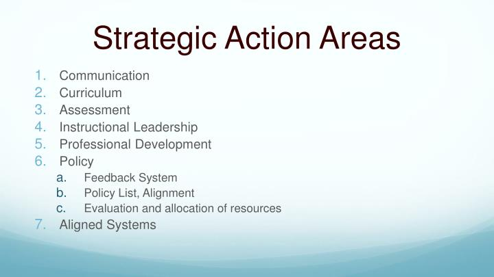 Strategic Action Areas