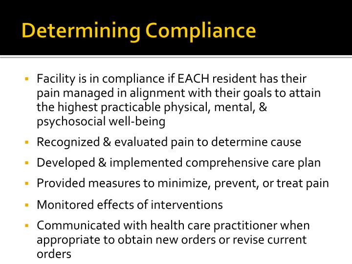 Determining Compliance