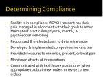 determining compliance