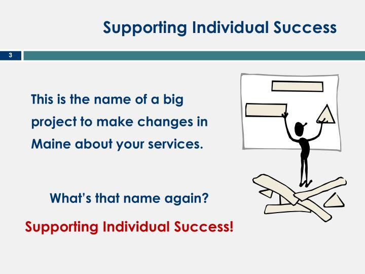 Supporting individual success1