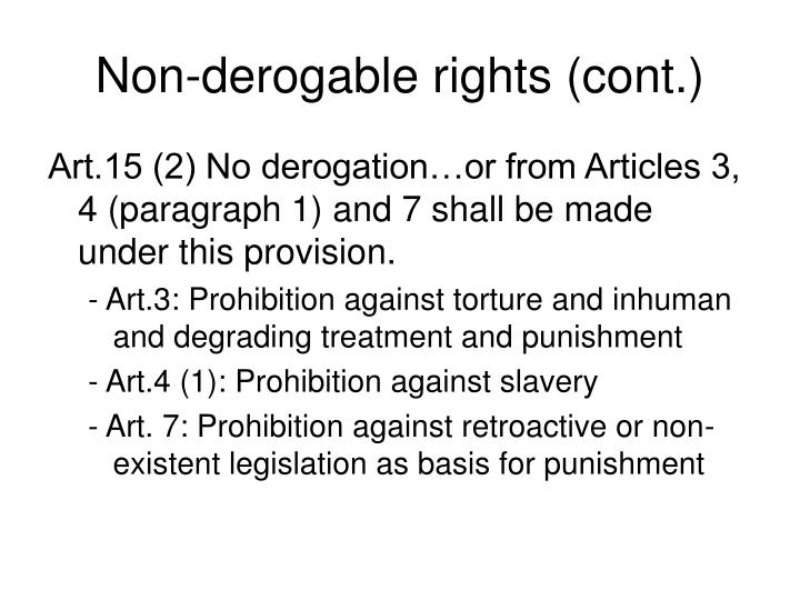Non-derogable rights (cont.)