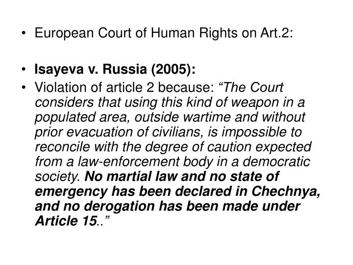 European Court of Human Rights on Art.2: