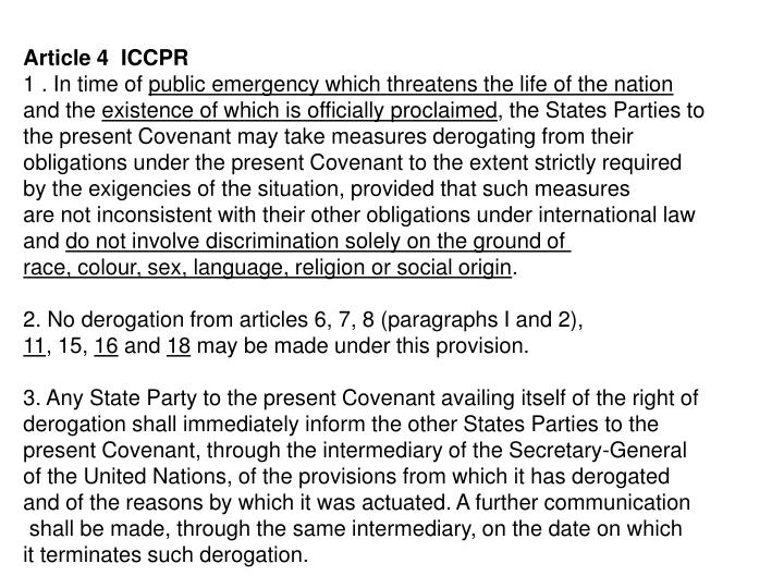 Article 4  ICCPR