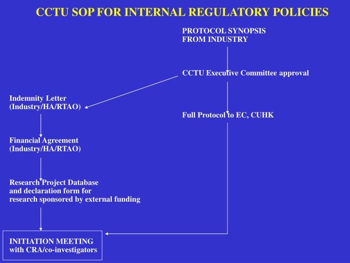 CCTU SOP FOR INTERNAL REGULATORY POLICIES