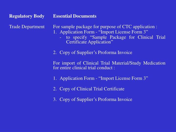 Regulatory BodyEssential Documents