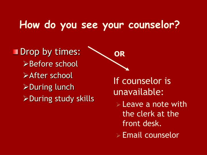How do you see your counselor?