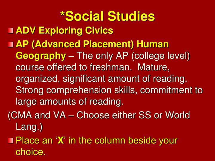 *Social Studies