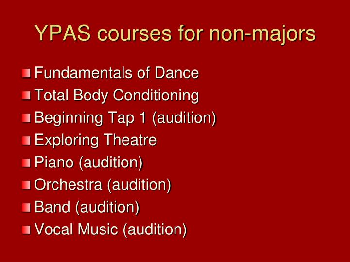 YPAS courses for non-majors