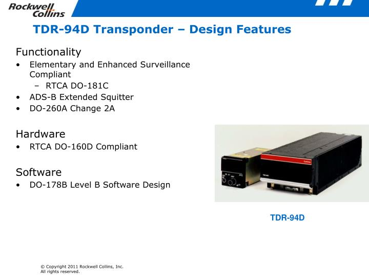 TDR-94D Transponder – Design Features
