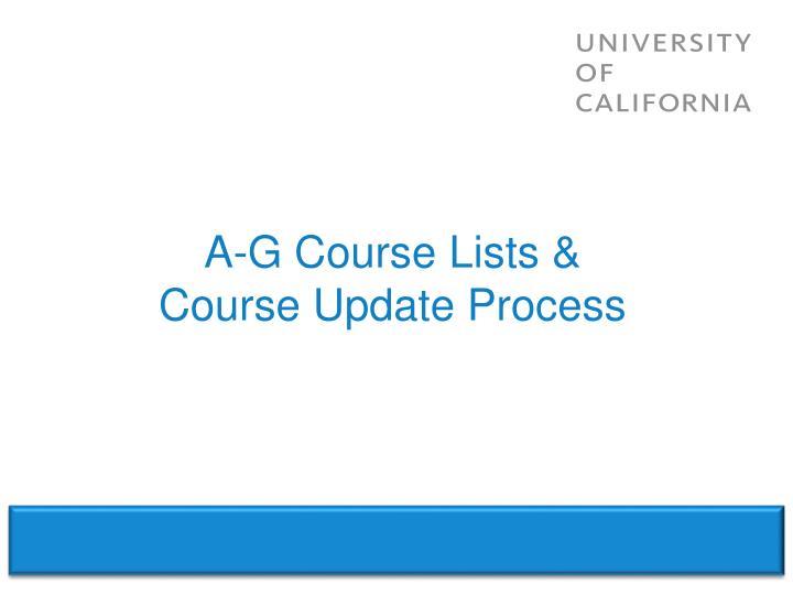 A-G Course Lists &