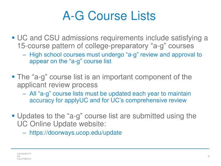 A-G Course Lists