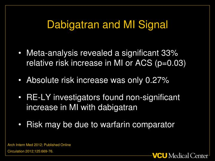 Dabigatran and MI Signal