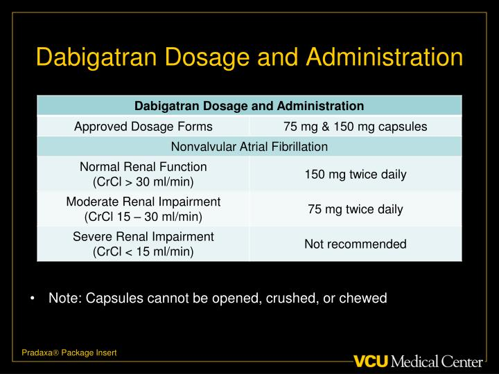 Dabigatran Dosage and Administration