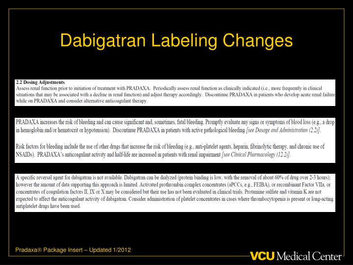 Dabigatran Labeling Changes