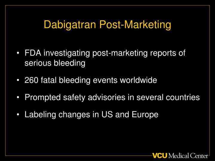 Dabigatran Post-Marketing