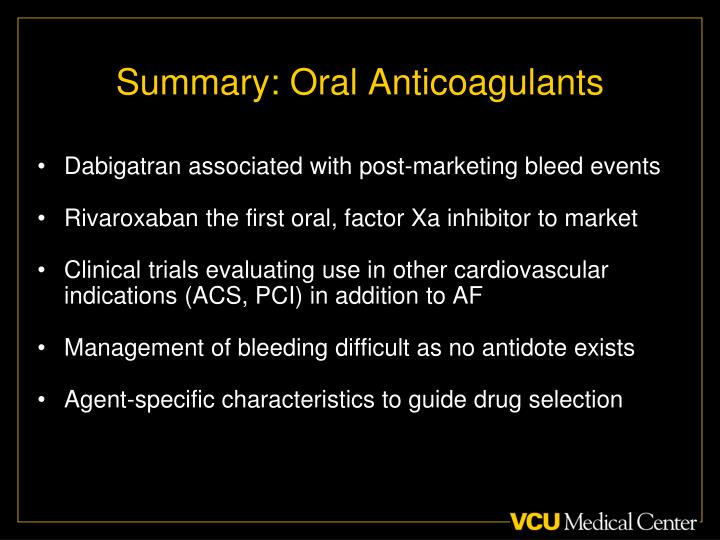 Summary: Oral Anticoagulants