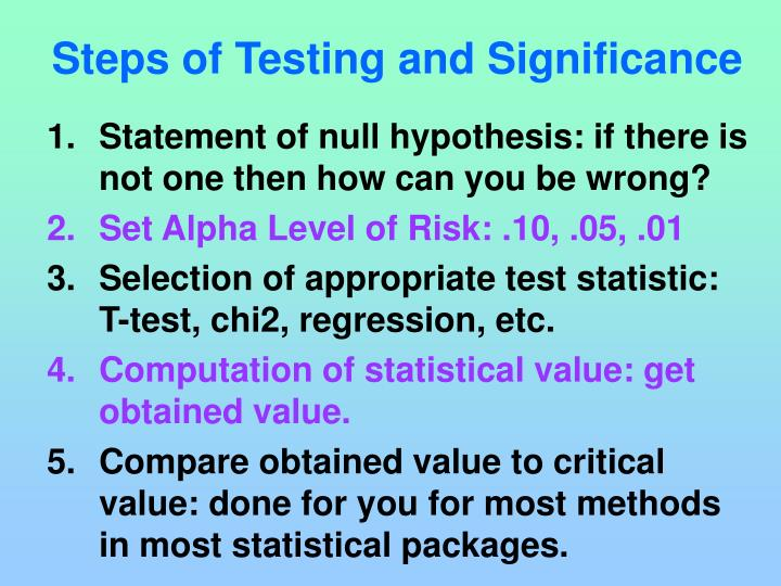 Steps of Testing and Significance