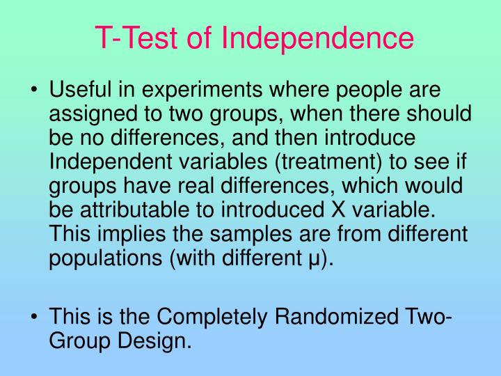T-Test of Independence