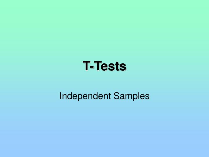 T-Tests