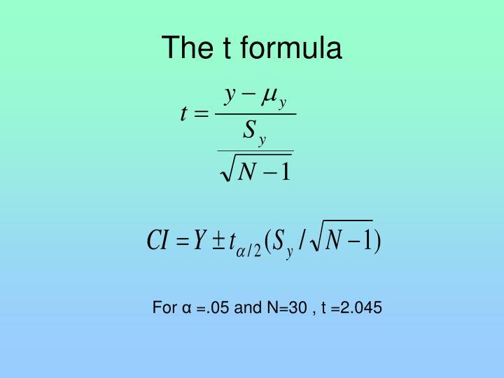 The t formula