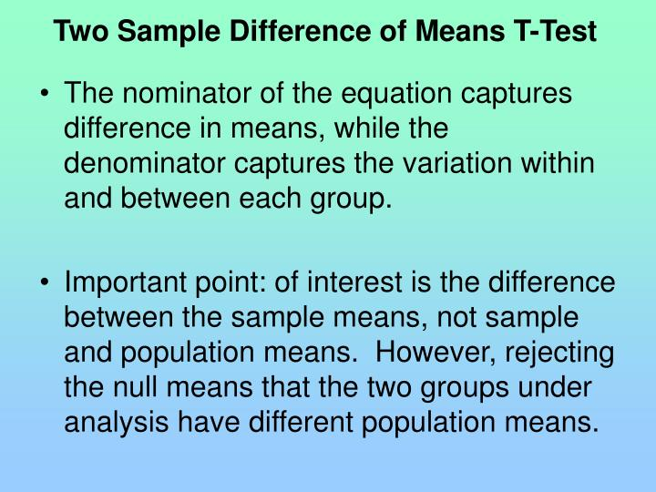 Two Sample Difference of Means T-Test