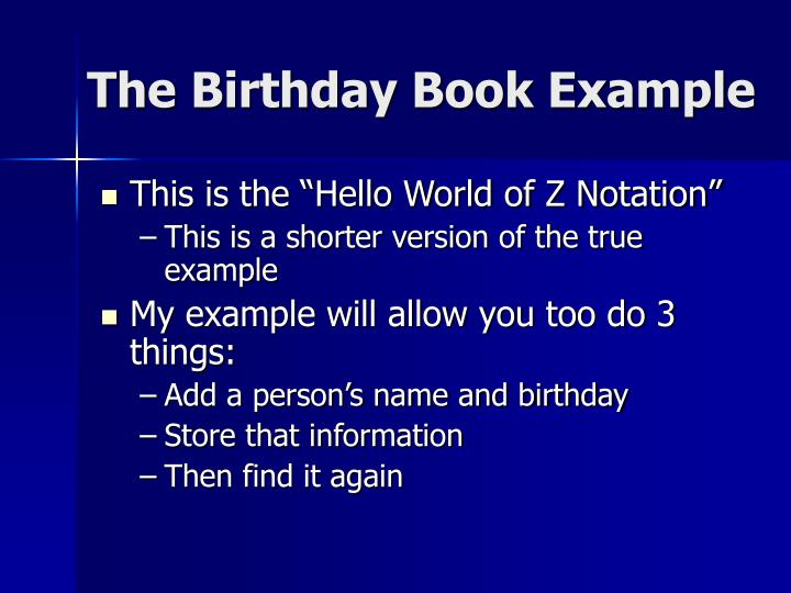 The Birthday Book Example