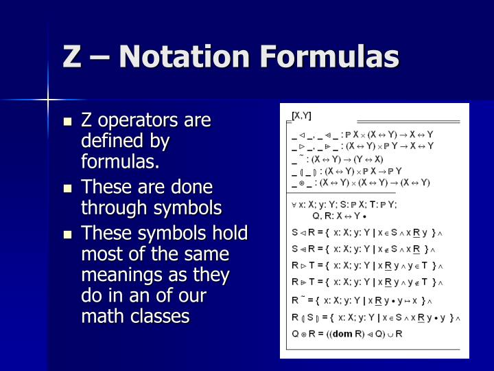 Z operators are defined by formulas.