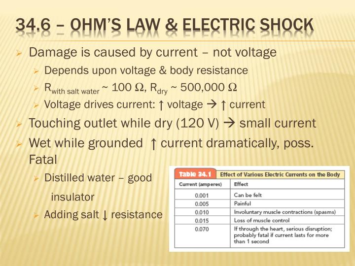 34.6 – Ohm's law & electric shock