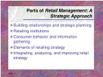 parts of retail management a strategic approach