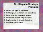 six steps in strategic planning