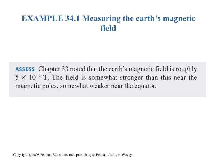 EXAMPLE 34.1 Measuring the earth's magnetic field