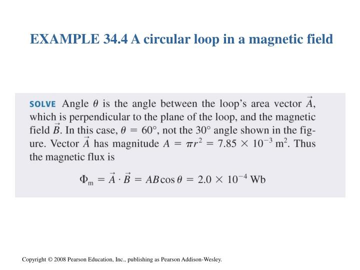 EXAMPLE 34.4 A circular loop in a magnetic field
