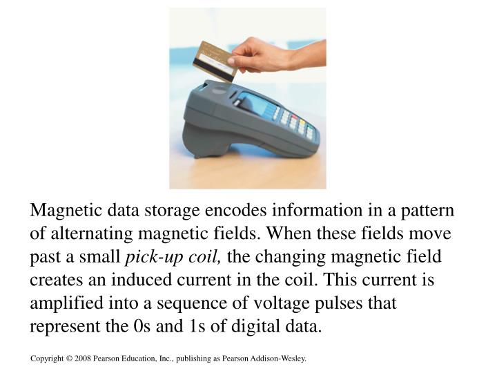 Magnetic data storage encodes information in a pattern of alternating magnetic fields. When these fields move past a small