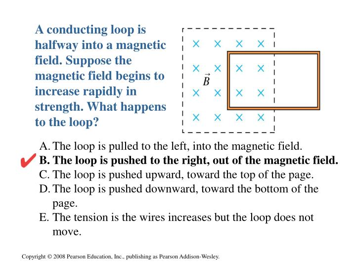 A conducting loop is halfway into a magnetic field. Suppose the magnetic field begins to increase rapidly in strength. What happens to the loop?