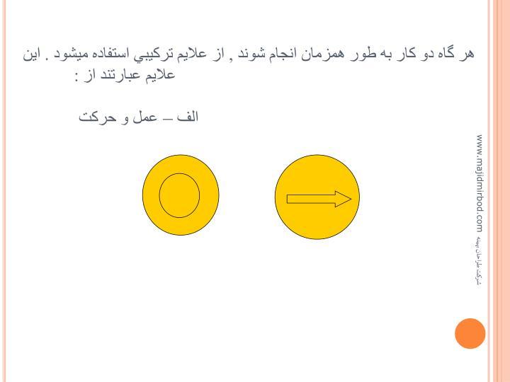 هر گاه دو کار به طور همزمان انجام شوند , از علايم ترکيبي استفاده ميشود . اين علايم عبارتند از :