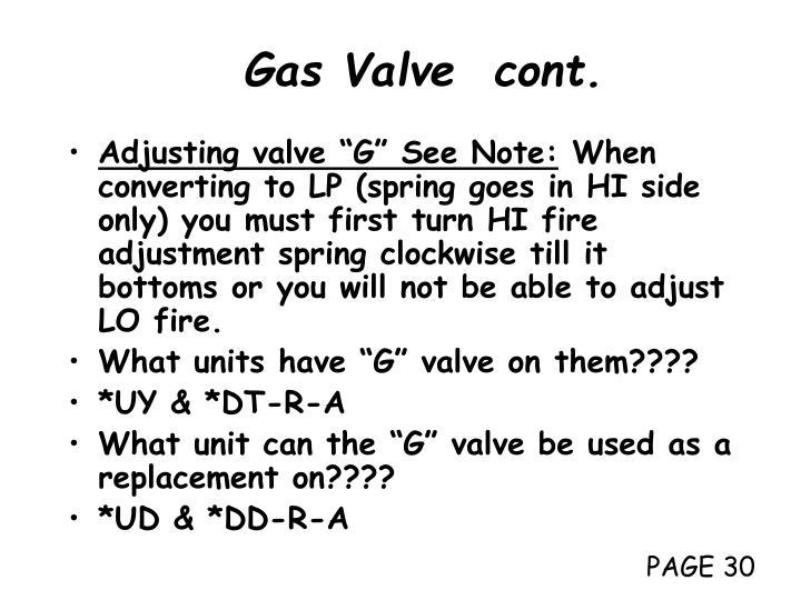Gas Valve  cont.
