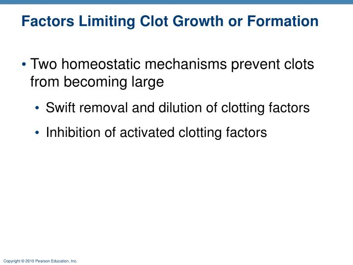 Factors Limiting Clot Growth or Formation