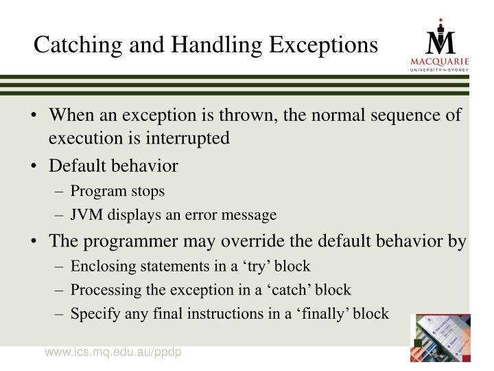 Catching and Handling Exceptions