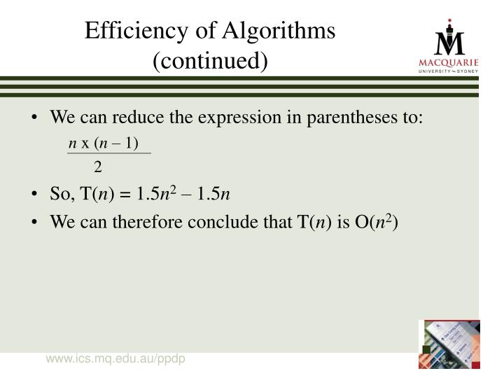 Efficiency of Algorithms (continued)