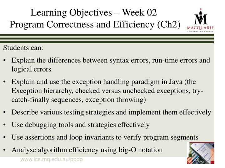 Learning objectives week 02 program correctness and efficiency ch2