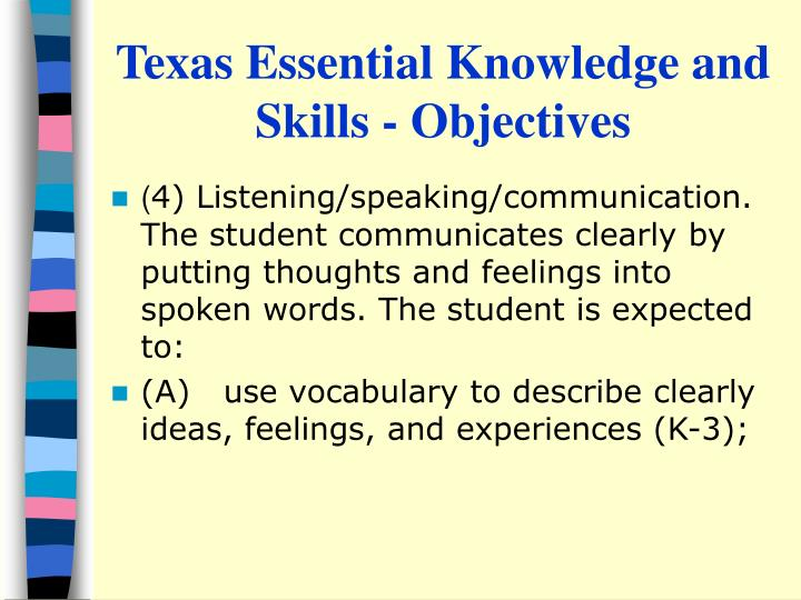 Texas essential knowledge and skills objectives