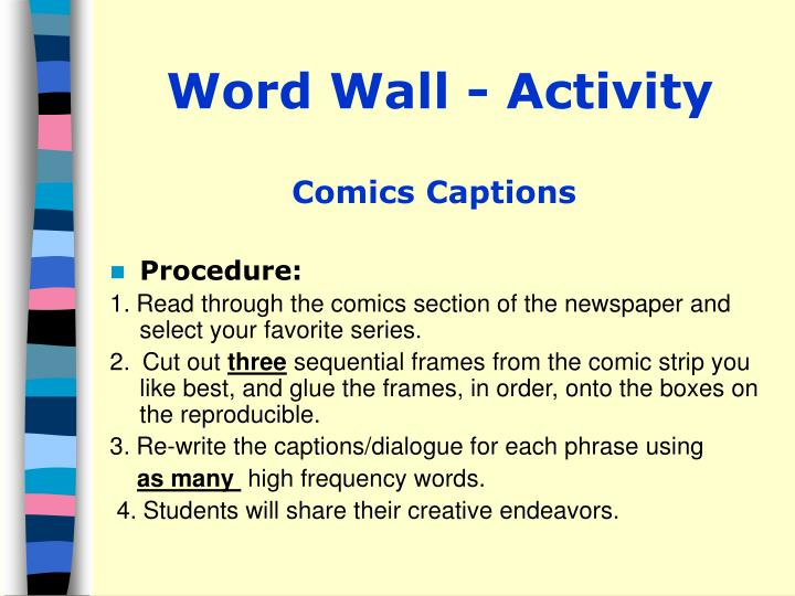 Word Wall - Activity