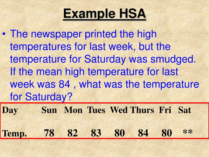 Example HSA