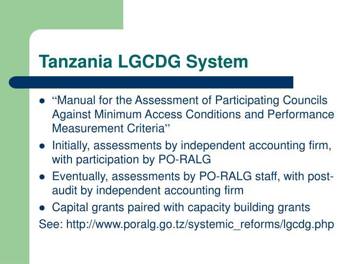 Tanzania LGCDG System