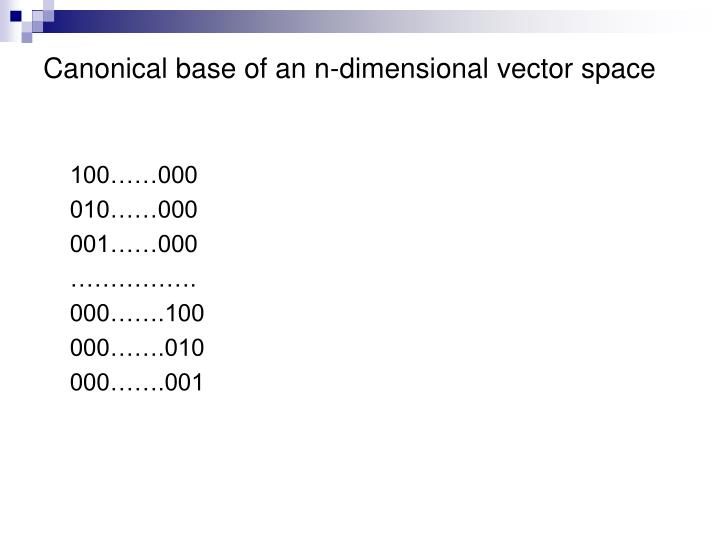 Canonical base of an n-dimensional vector space