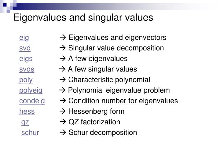 Eigenvalues and singular values