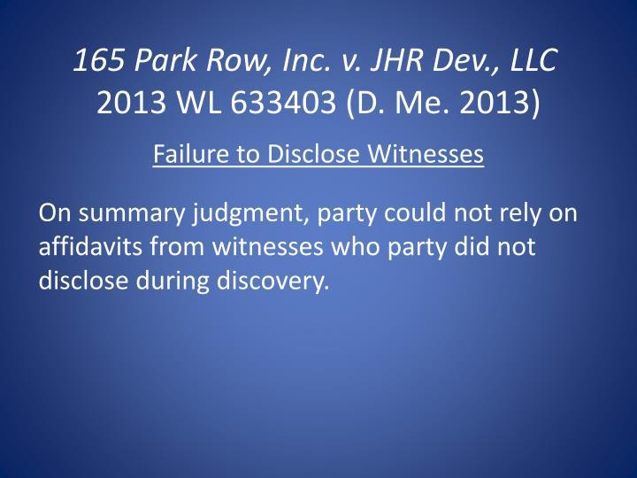 165 Park Row, Inc. v.