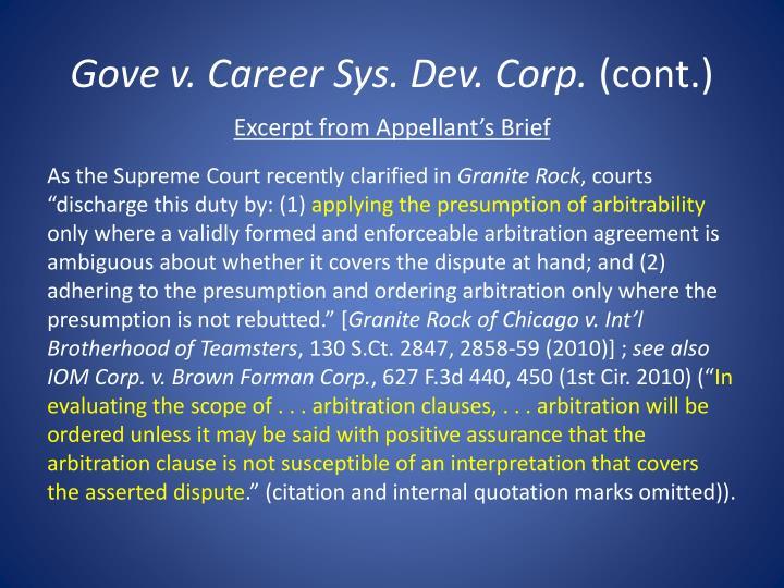 Gove v. Career Sys. Dev. Corp.
