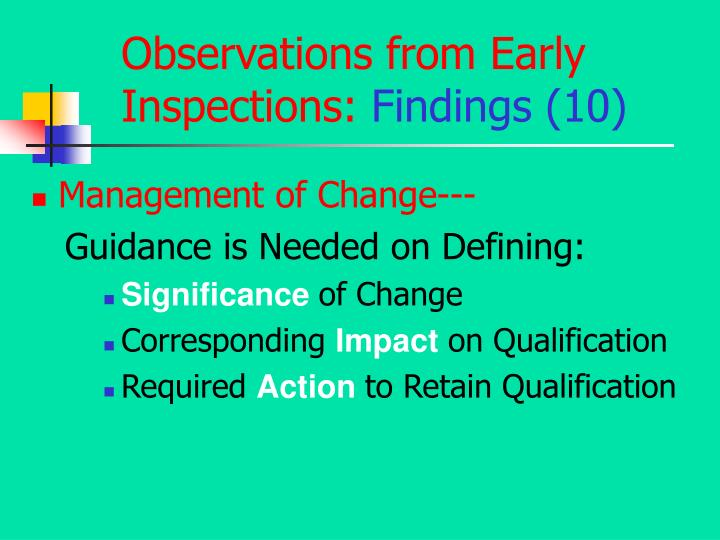 Observations from Early Inspections: